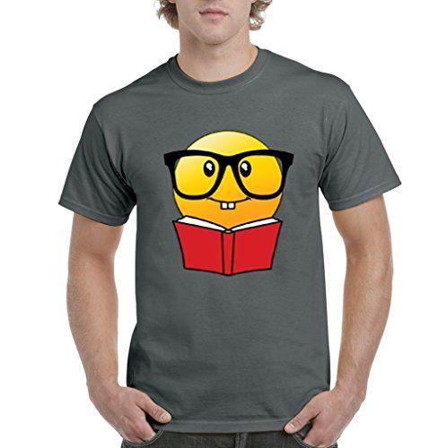 Graphic Music Tees Happy Face Book Worm Nerd Emoji Mens T Shirt