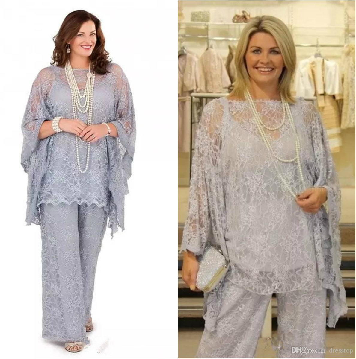9aa0167c85 Lace Mother Of The Bride Pant Suits 2017 Long Sleeves Three Pieces Silver  Gray Wedding Guest Dress Plus Size Formal Dress Evening Joan Joan Rivers  Joan ...