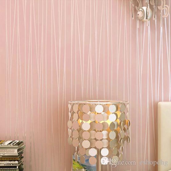 Acheter Papier Peint Moderne Uni Rose Stripe Papier Peint Rose