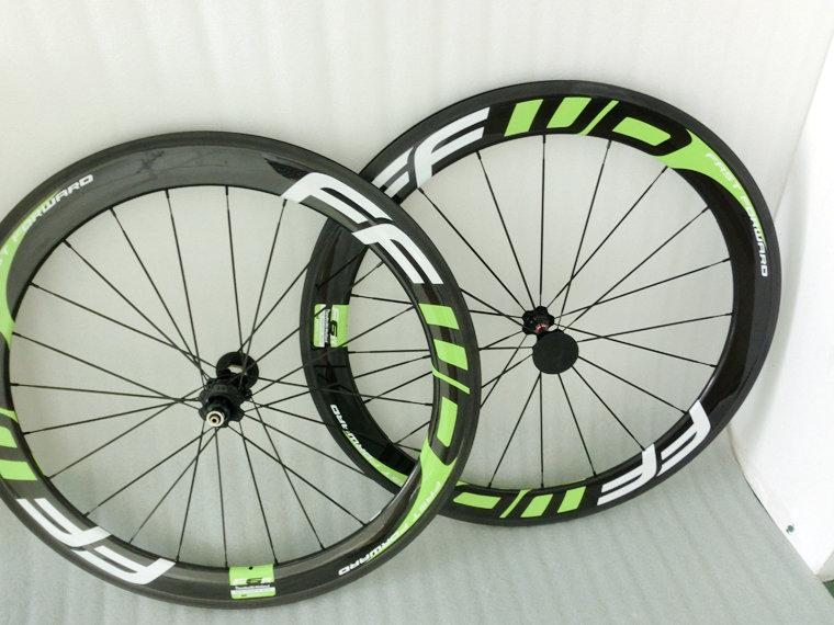FFWD GREEN 60mm Clincher Road Bicycle Wheels light 700C Carbon Fiber Road And Racing Cycling Wheelset