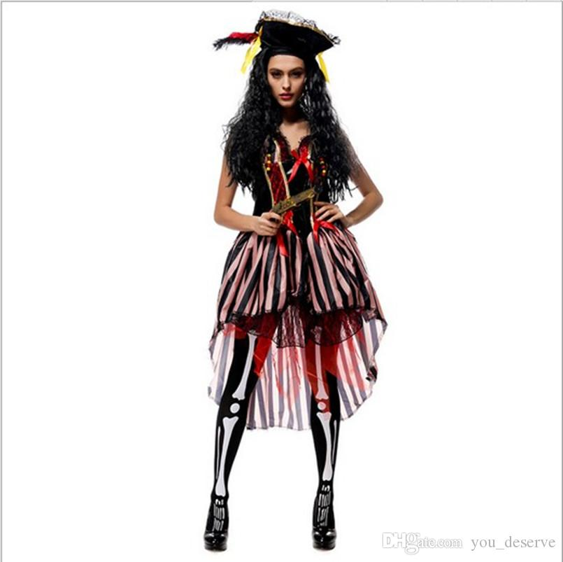 2017 new pirates of the caribbean women dress sexy cosplay halloween costumes uniform temptation club party clothing hot selling halloween group party - 2017 Halloween Themes