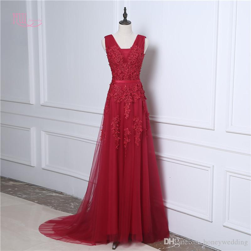 1935565f37b Best Selling Burgundy Red   Pink   Silver Formal Dresses Evening Wear V Neck  Lace Appliques Beaded Cheap Prom Dress Long With Sweep Train Backless  Evening ...
