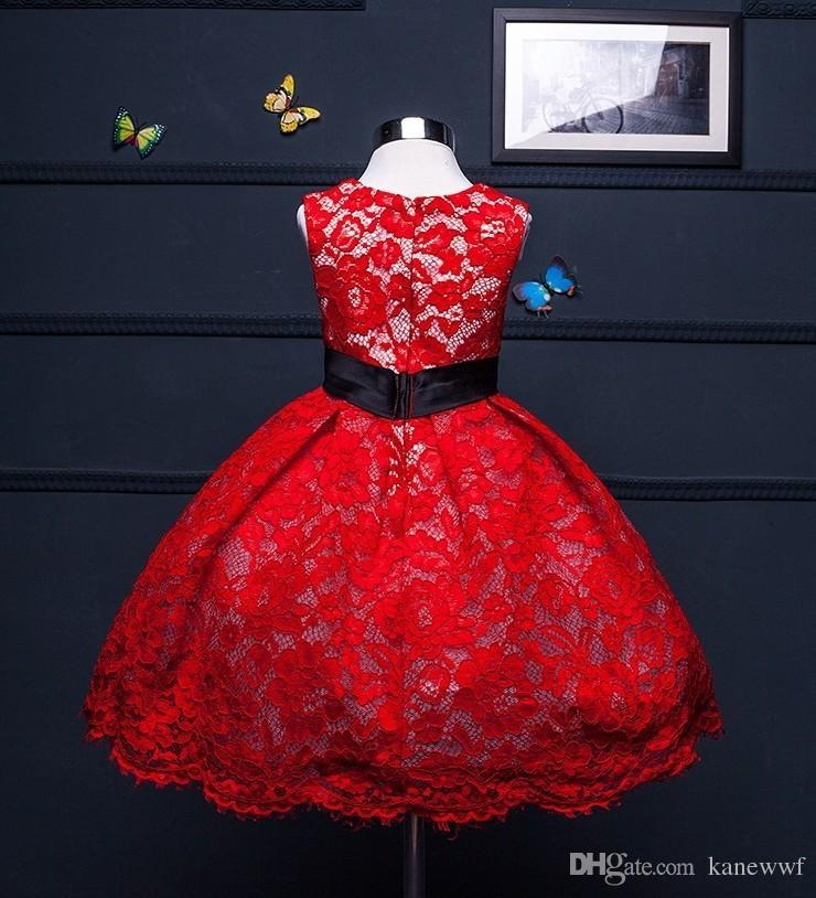 Flauschige süße rote Spitze-Hochzeitskleid für Mädchen, erster Geburtstags-Party-Outfit-Baby-Ballkleid, handgemachtes Tauf-Taufgleid