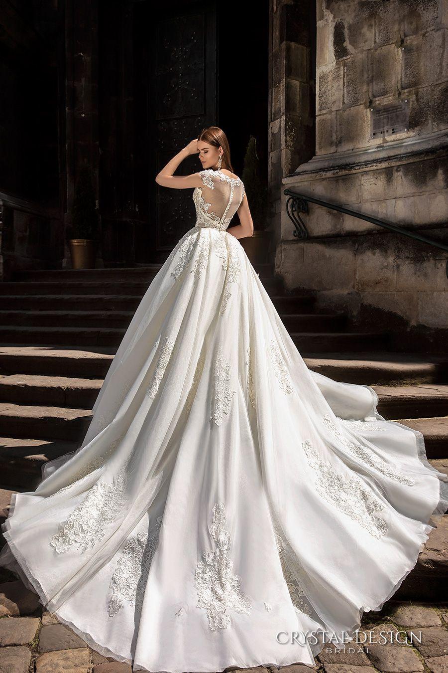 Vestidos de Noiva 2018 vestidos de casamento de luxo com mangas tampadas frisado Lace Appliqued Catedral Train vestidos de noiva Custom Made