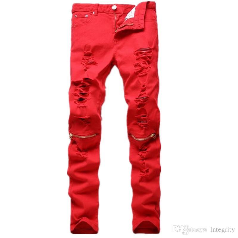 2017 2017 New Fashion Men Ripped Designer Jeans Pants Slim Fit ...