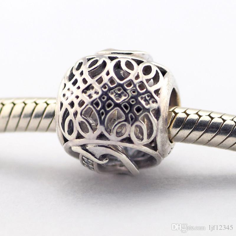 Vintage Lettre Q Clair CZ Perles Convient Pandora Bracelets Perles Authentiques Perles En Argent Sterling BRICOLAGE Charme Gros Charmes LE015-Q