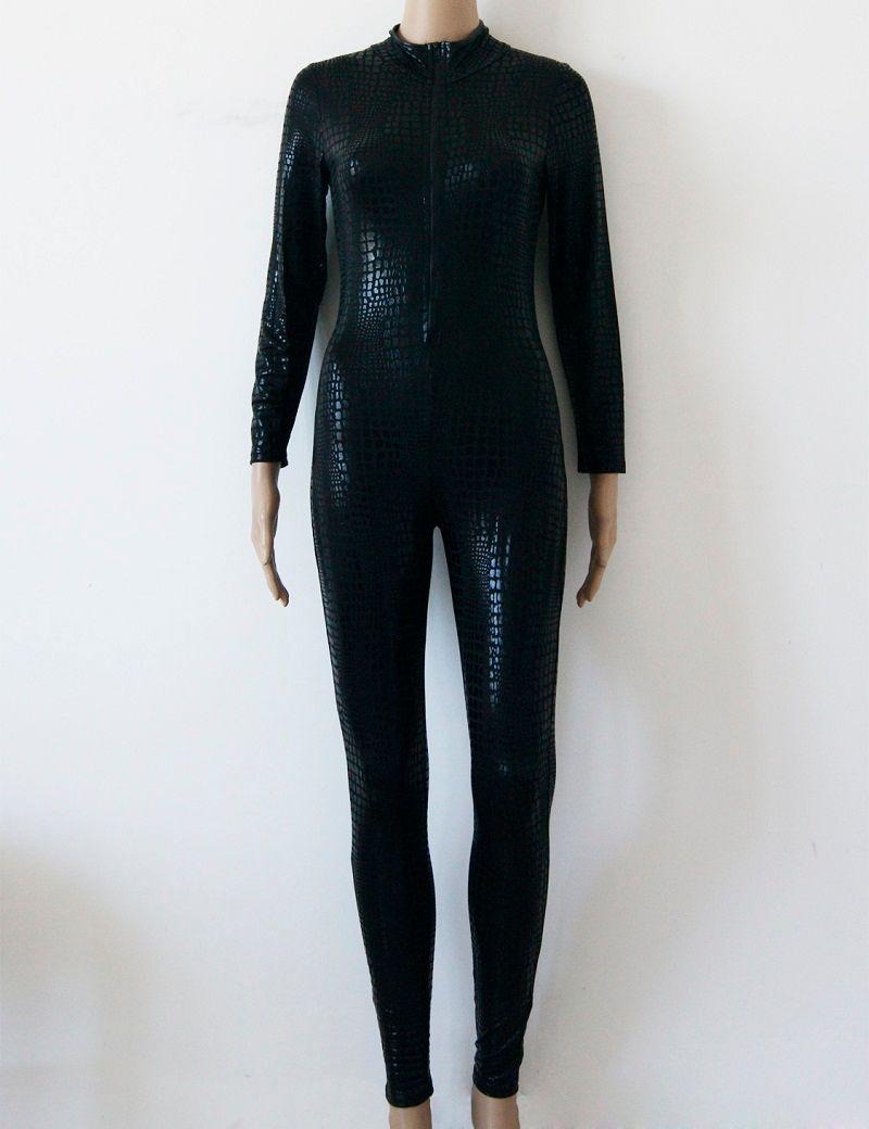 Sexy Snakeskin Catsuit Lingerie Black Gray Gold Faux Leather Long Jumpsuit Front Zipper Bodysuit Pole Dance Costume for Women W7980