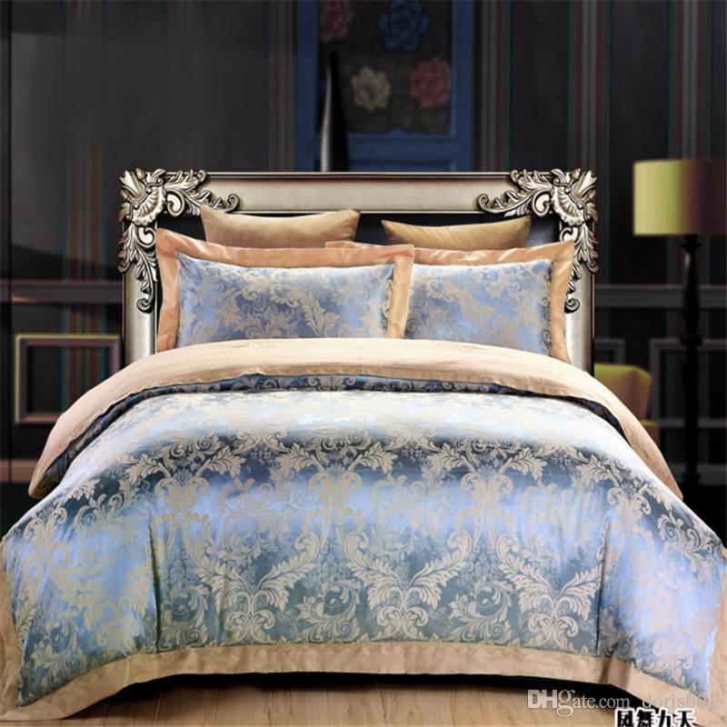 أكثر سماكة الراقي الحرير القطن مجموعات الفراش الملكة الملك ملاءة سرير حجم منسوجات منزلية / غطاء لحاف / وسادة / مجموعة