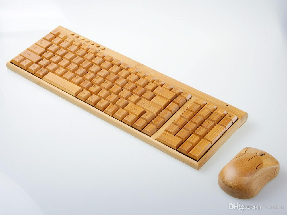 Multimedia Bamboo Wireless Keyboard 2.4GHz Handmade Wooden Wireless Keyboard &Mouse Wood Combos Set for Home/Office Computer/laptop/Notebook