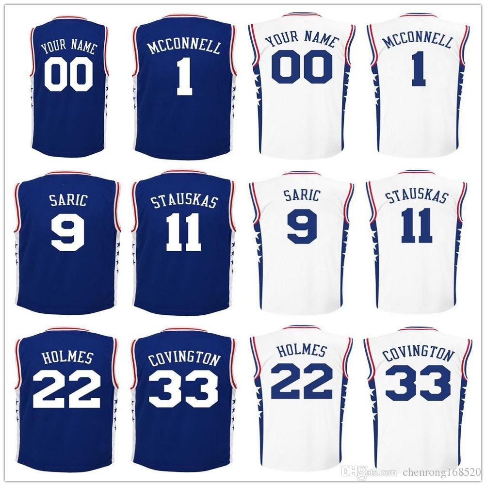 Online Cheap Screen Printed Mens 1 Tj Mcconnell 9 Dario Saric Jersey 11 Nik  Stauskas 22  Mens Nike T.J. McConnell Royal Philadelphia 76ers ... 538fe9bb0