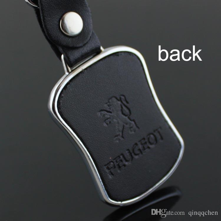 5 قطعة / الوحدة الأعلى الأزياء شعار سيارة المفاتيح لبيجو المعادن الجلود كيرينغ مفتاح سلسلة حلقة llaveros chaveiro سيارة شعار مفتاح حامل