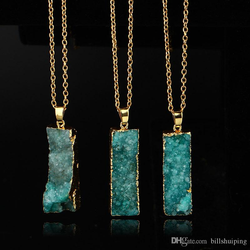 Wholesale Quartz Crystal gold plated blue agate sliced Irregular Natural stone pendants chain necklace Druzy Jewelry