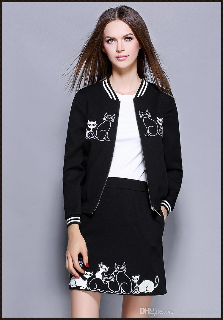 2016 women long sleeve short jacket suit autumn & winter female new style cat embroidery coat + above knee length package skirt