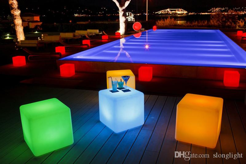 Fashin Modern outdoor waterproof 50CM GLOWING rechargeable luminous cube led bar chair barstools remote control led cube table