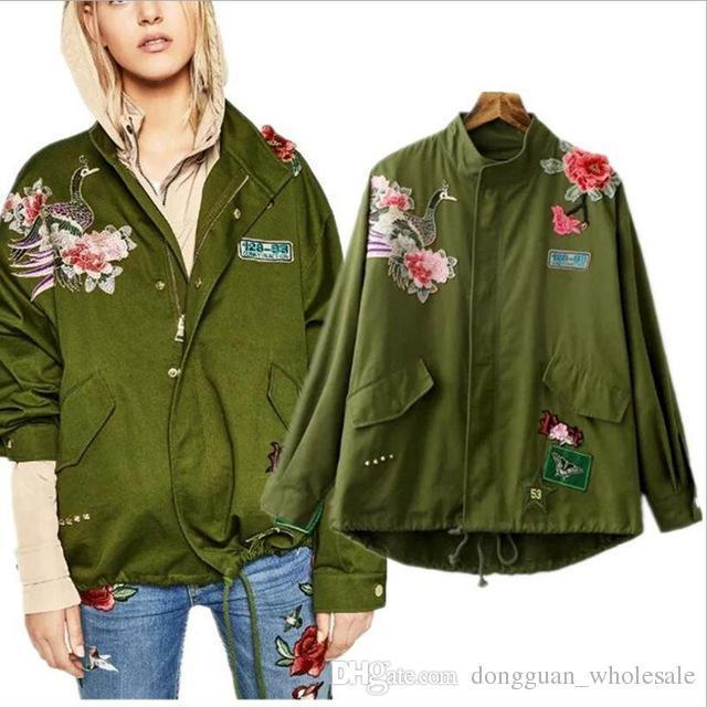 6f6bda8fc Fashion Army Green Bomber Jacket Women Embroidery Floral Print Patched  Jacket Loose Ladies Jackets Tops Women€s Coat Clothing