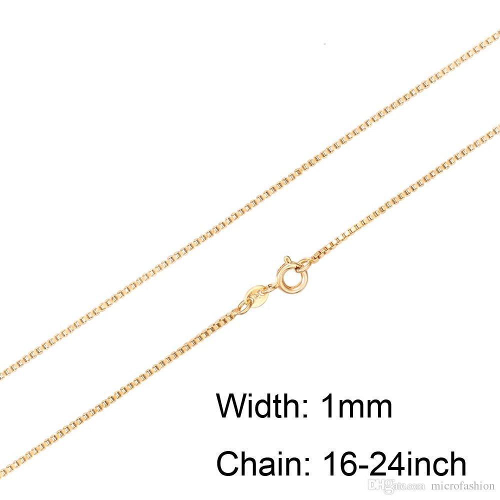 Cadena de caja de moda 18 K Cadenas chapadas en oro Puro 925 Collar de plata Cadenas largas Joyería para niños Boy Girls Womens Mens 1mm 2016