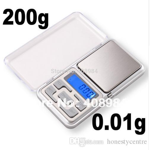 Venda quente Eletrônico Portátil 0.01g 200g LCD Display Digital Bolso Pesando Jóias diamante Escala de Equilíbrio