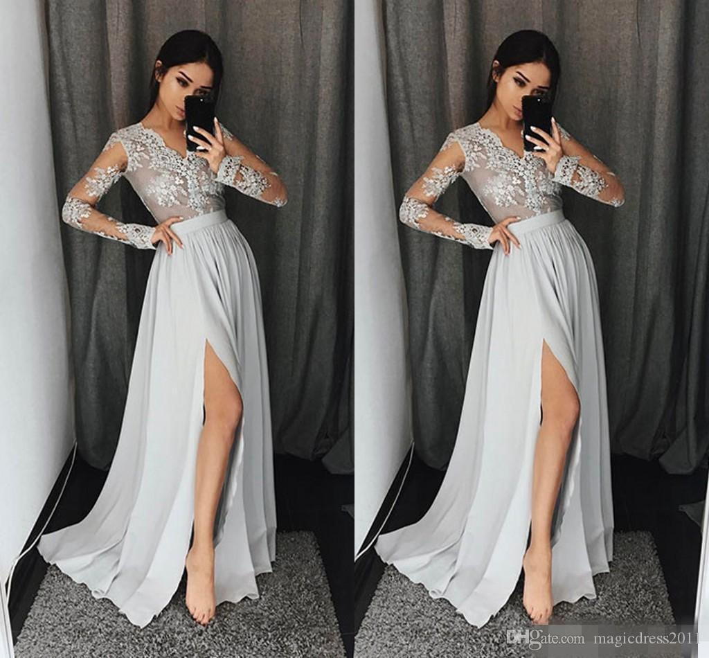 Sexy Sheer Long Sleeves Prom Dresses Deep V neck Lace Appliques Chiffon Cheap Homecoming Dress Girls Formal Wear Side Split Evening Dress