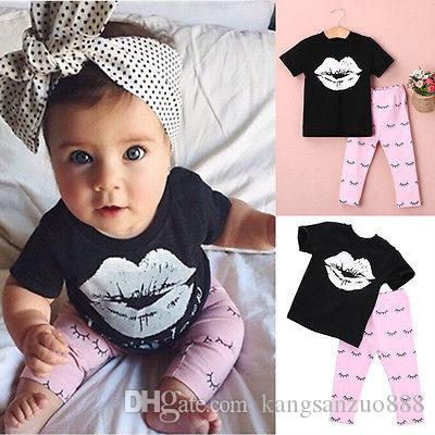 fb93e22a93a04 2016 Fashion New Baby Girls Clothes 0-4Y Toddle Kid Summer Short Sleeve  Slip Print T-Shirt and Eyelash Pant 2pcs Children Set