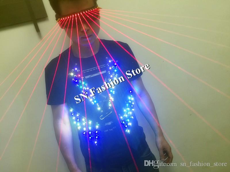 T17-ful light ballroom led costumes RGB light dance wears stage costumes dj clothes led vest laser glasses disco catwalk