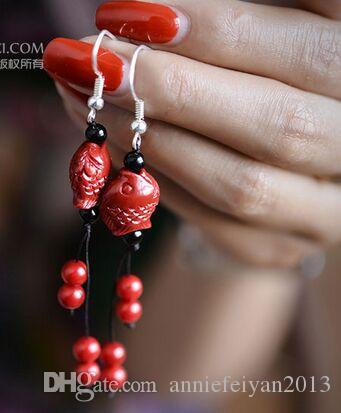 Fashion Rich Little Fish Coral/Shell/Blue China Copper Bells/Silk Thread Balls Pendant Charm Earrings Jewelry Birthday/Wedding Gifts