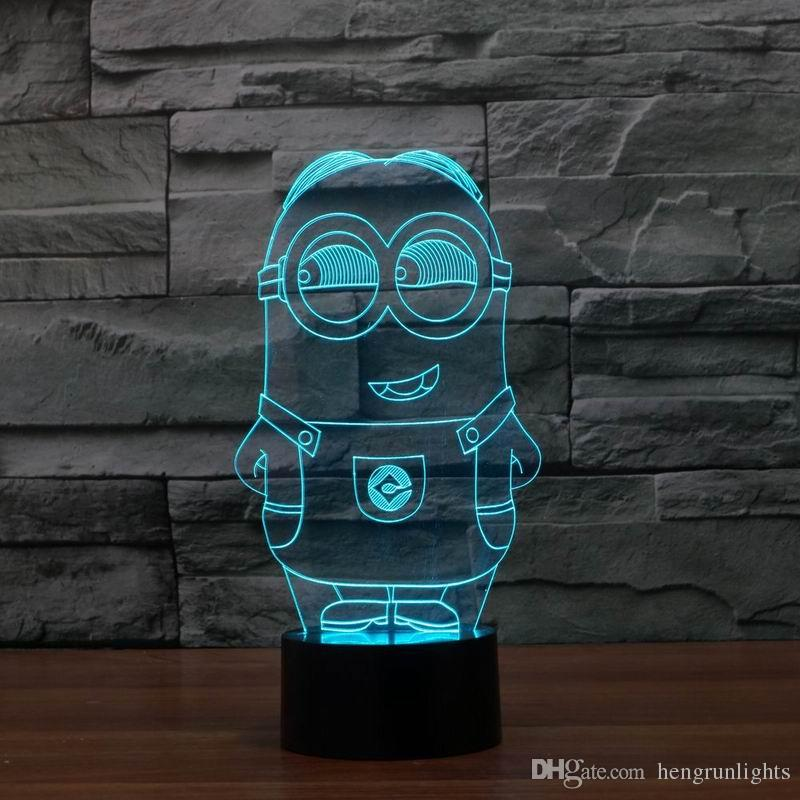 3D Effect LED Light New Lovely Color Changing Colorful Night Light Lamp Toy Despicable Minions Toy Colorful Night Light 2921s with USB line