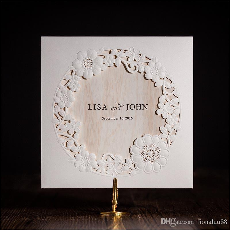 New Arrival Wedding Invitations Cards 2018 White Laser Cut Flower ...