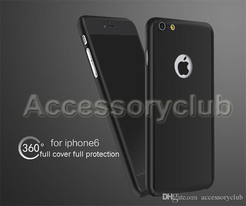 360 Degree Full Body Covered Ultra-thin Hard PC Case For iPhone 7 5 5S 6 6S plus S6 back Cover with Tempered Glass Screen Protector & Retail
