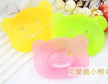 200Pcs Cute Cartoon Rabbit Soap Box for Bathroom Plastic Soap Dish Clear Color Suction Draining Cup Holder Bathroom Shower Soap Dish