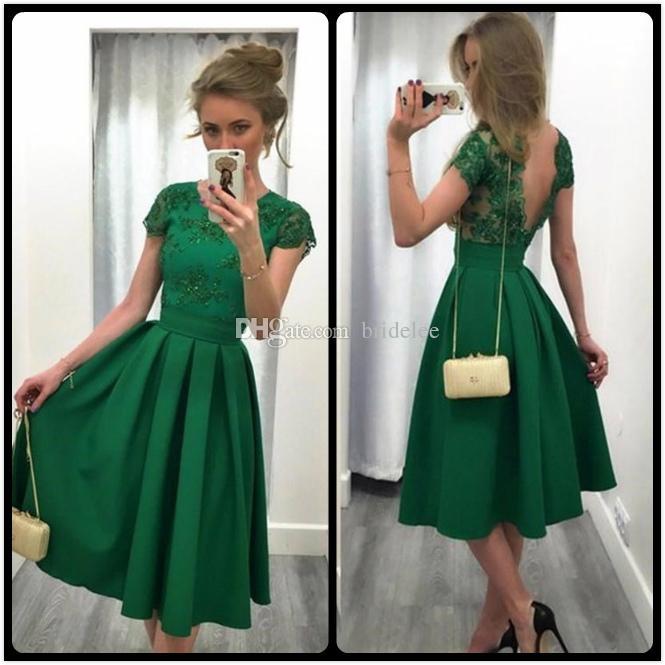 3e74bf63469 Robes dos nu cocktail vert foncé une ligne dentelle appliques robe de  cocktail thé longueur robes de soirée sexy v dos robe formelle