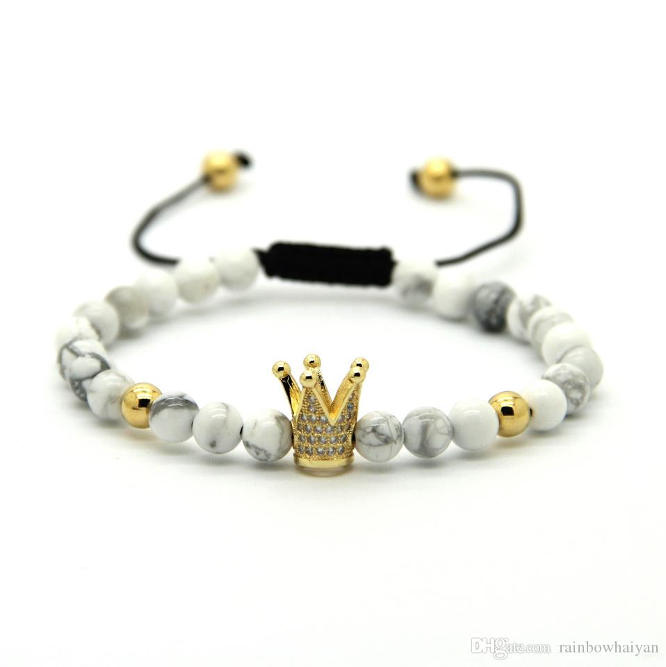 6mm Natural White Howlite Matte Agate Stone Copper Beads Gold And Silver Plated Crown Braided CZ Bracelet