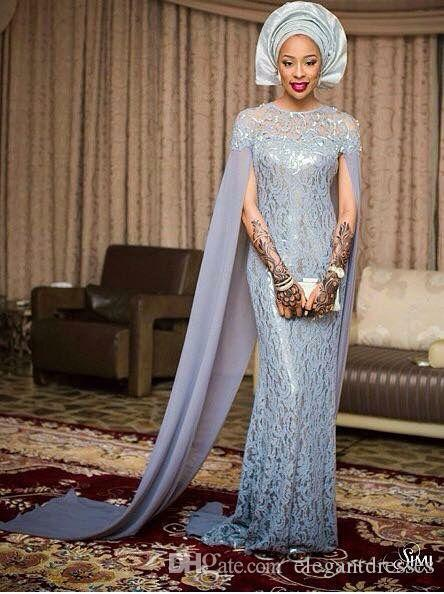 2021 Vintage Mermaid Kant Gray Custom Made African Fiesta Fashion Formele Long Party Avond Prom Dresses