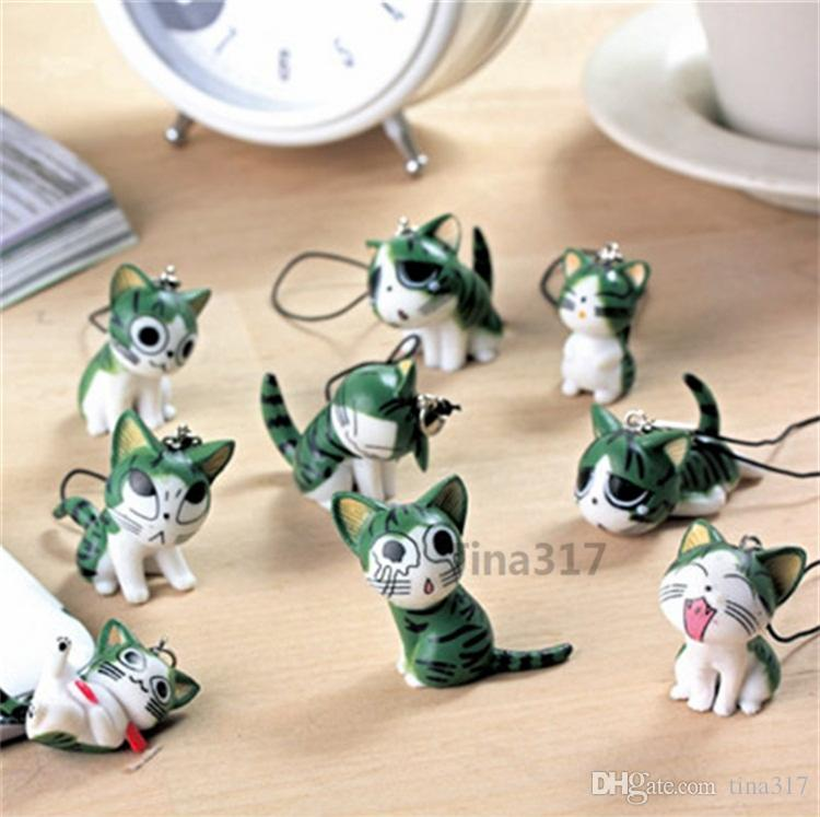 2016 cute japanese maneki neko Cheese cat chain lucky cat cell phone charms hangings accessories for iphone 4 5s Keychains accessories 2139