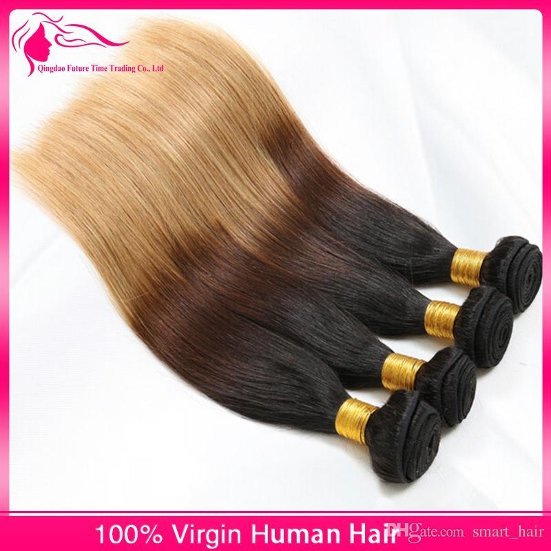 Grade 9A Vierge brésilienne Ombre Droite Extensions de Cheveux # 1B / 4/27 Miel Blonde Sombre Roots Ombre Cheveux Humains Weave Bundles /