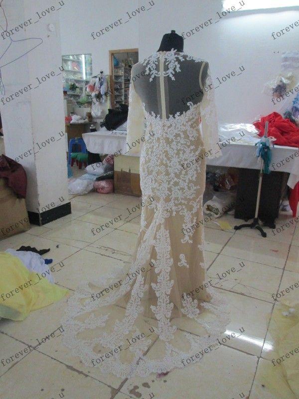 고전적인 우아한 섹시한 Zuhair Murad Jennifer Lopez Lace Bateau Sheer Mermaid Prom Dresses 긴 소매 이브닝 가운 연예인 드레스