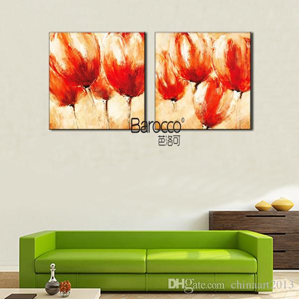 Red Flower Paintings Pure Hand Painted Oil Painting Modern Simple Style Wall Art Decoration for Home or Office