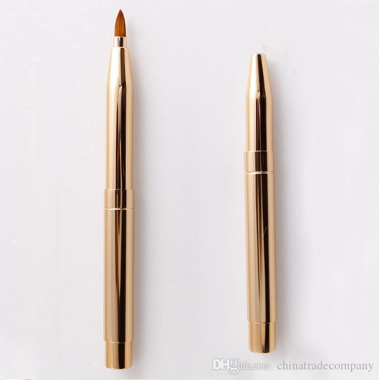 Double-headed Makeup Brush Retractable Lip Brush Eye Liner Eyeshadow Foundation Brush Make Up Cosmetics Gold Adjustable Tool