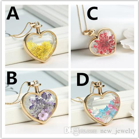 Wholesale heart flower specimens pendant necklace alloy transparent wholesale heart flower specimens pendant necklace alloy transparent glass crystal stars locket solitaire pendants chain can not open glass silver bangles mozeypictures Images