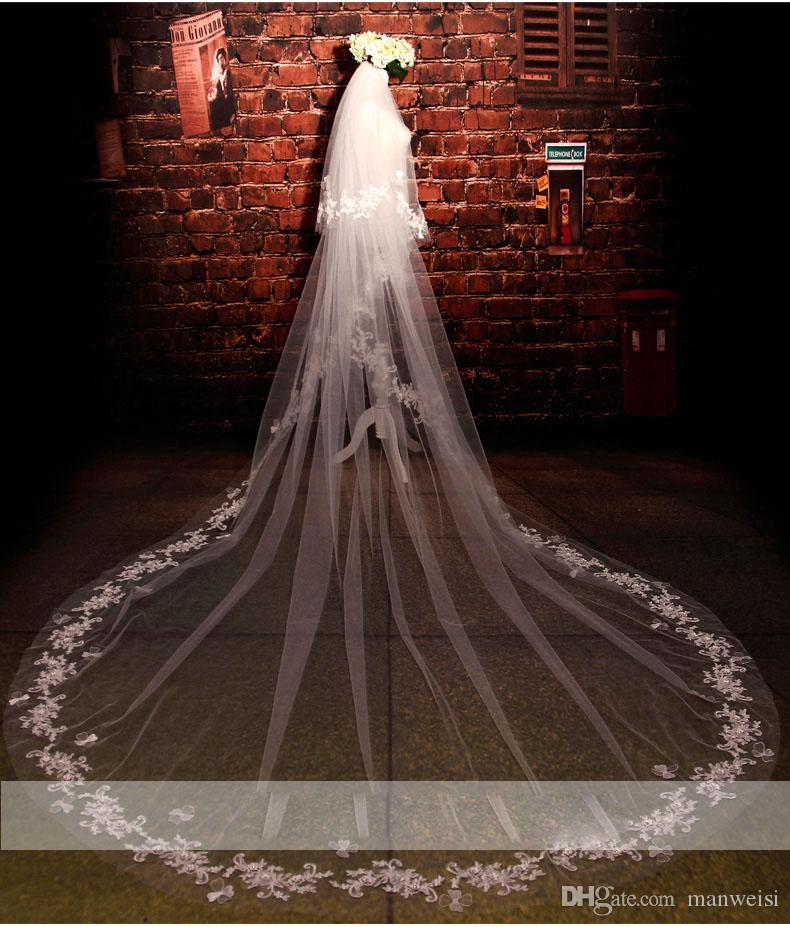 Hottest Two Layer Crystal Bridal Veils Cathedral Length Tulle 3m Long Wedding Veils Lace Applique Bride Accessories With Free Comb