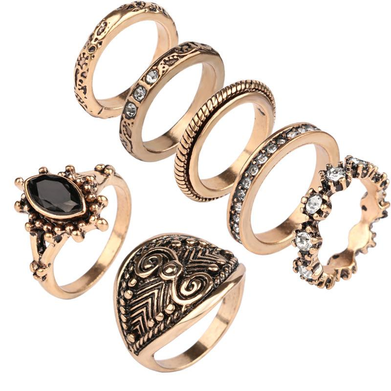 b0dcaf2cf XS New Fashion Creative Joint Ring Restoring Ancient Ways For Women Gold    Silver Colors Rings Set 7picsWholesale Jewelry Stores Mens Wedding Bands  From ...