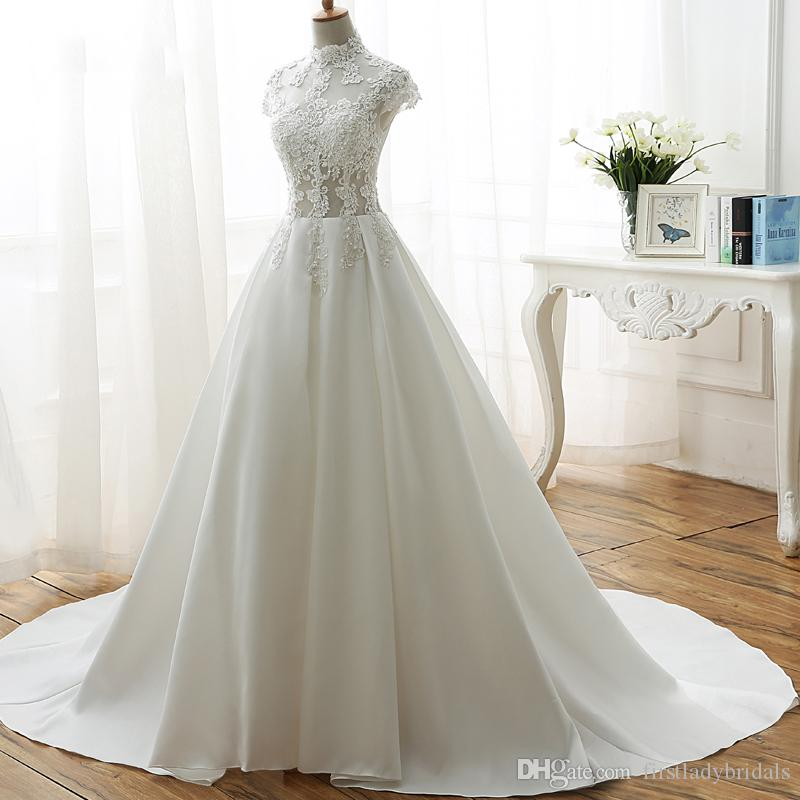 Simple Wedding Dresses Designer Cheap Sheer High Neck Cap Sleeved Lace Top Bridal Gowns Satin Long Train White Gothic Dress For Brides