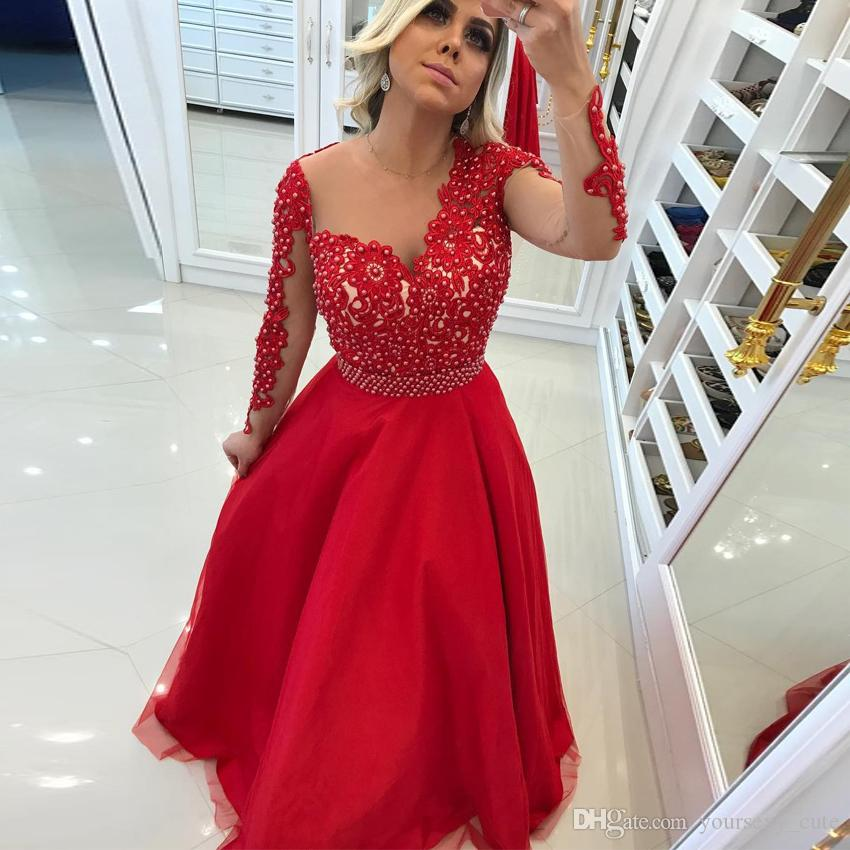 Red Long Sleeves Evening Dresses Sheer Neck Appliques Lace Pearls ...