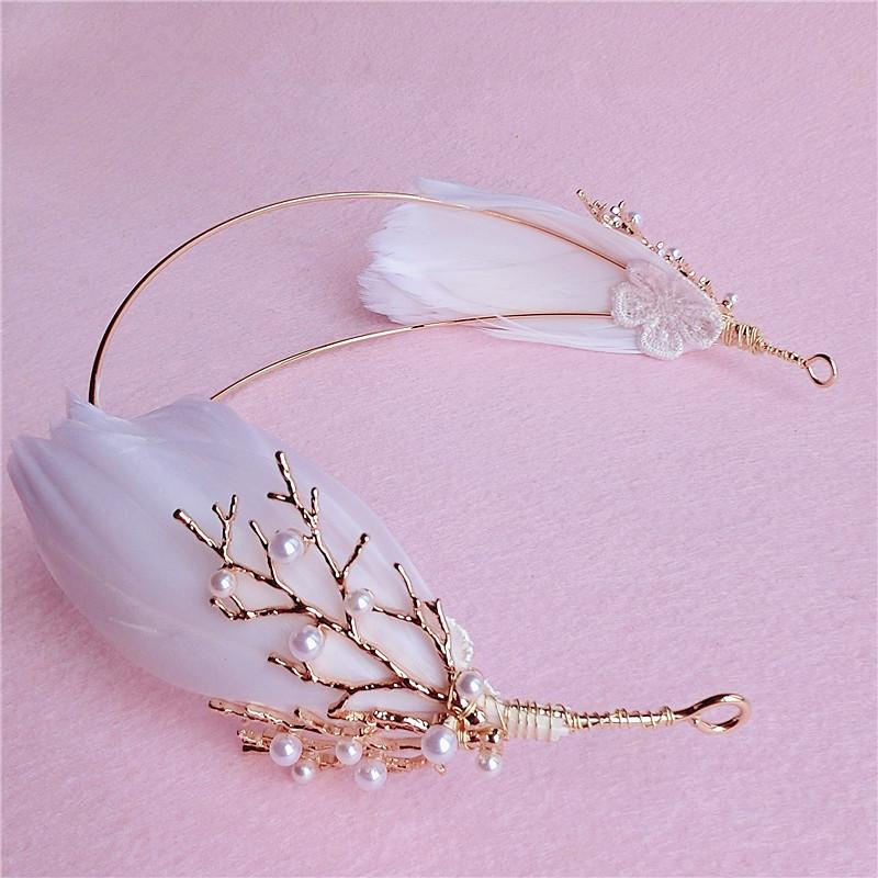 Wedding Bridal Bridesmaid Gold Pearl Beaded Faux Feather Headpieces Hair Accessories Headband Jewelry Crown Tiara Queen Princess Headdress