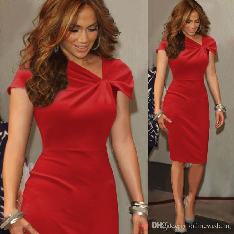 Knee Length Women Red Cocktail Dresses Cap Sleeves Sheath Short ...