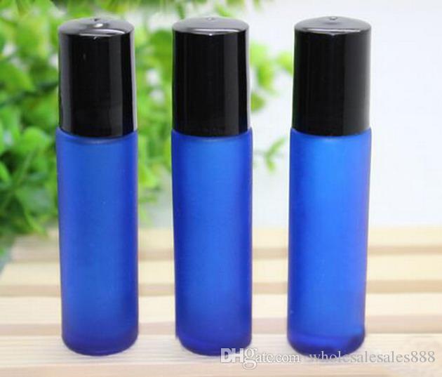 200 قطعة / الوحدة 10 ملليلتر الأزرق متجمد الزجاج على زجاجات فارغة القابلة لإعادة الملء مع غطاء أسود زجاجة عطر مثالية الكرة الفولاذ المقاوم للصدأ