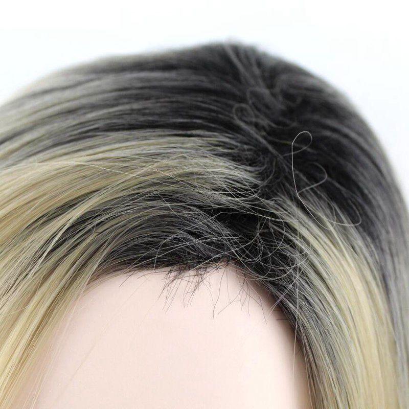 Hair Medium Long Wavy Wig Synthetic Hair High Temperature Fiber Black Roots Ombre Golden 20inch Long