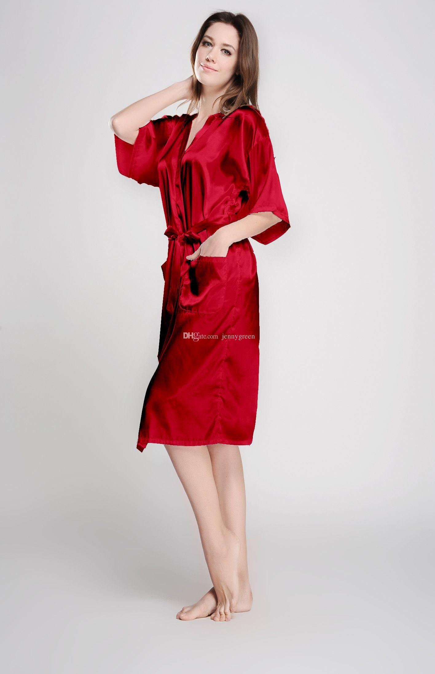 2018 Red Brides And Bridesmaid Robes Kimono Dressing Gown Bridal ...