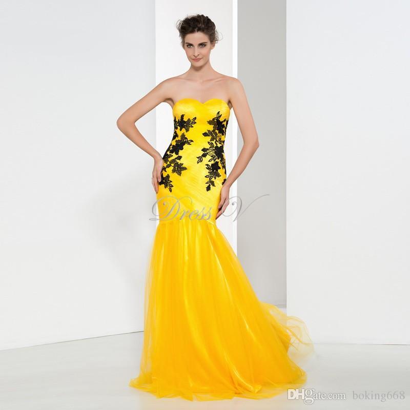 f0dd584049 2017 Evening Dresses Mermaid Sweetheart Black Appliques Formal Long Yellow  Prom Dresses Social Dresses Evening Dress Prom Dresses Online Shopping Prom  ...