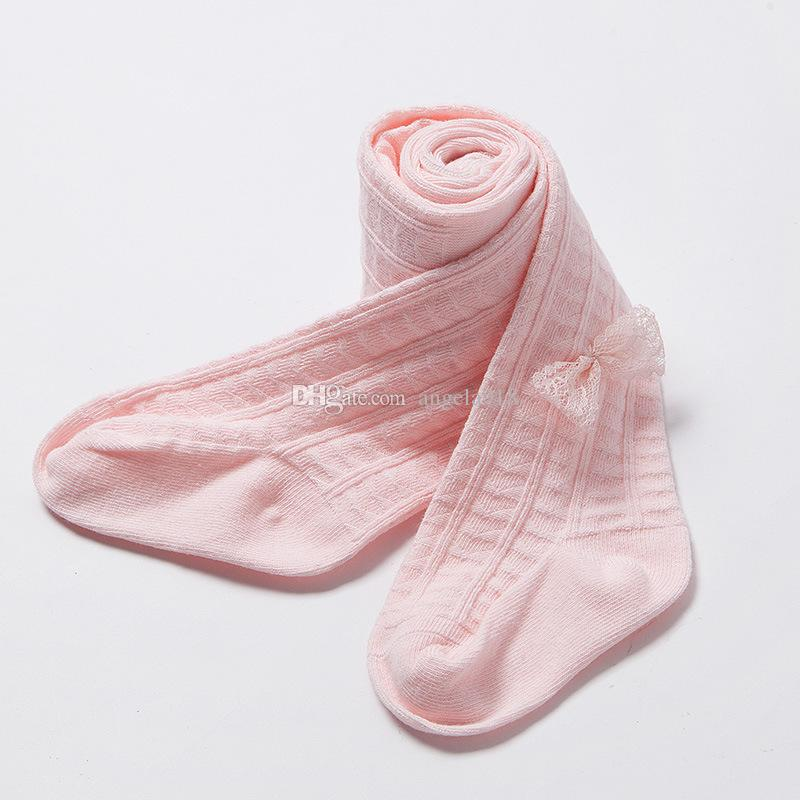 Neonate Collant Toddler autunno Leggings Bambini collant Cotone ragazze Cute Lace bowknot Leggings DHL C1410