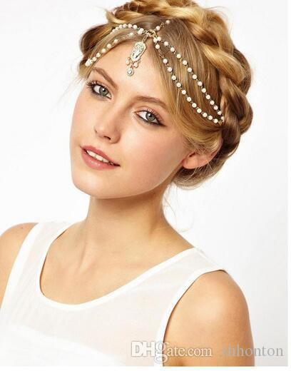 Fashion Wedding Bridal Hair Accessories for Women Metal Beaded Pearl Head Chain Indian Hair Jewelry Women Bridal Crown Ornaments HT15